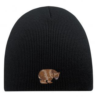 Beanie-Mütze mit Einstickung - BÄR - Wollmütze Wintermütze Strickmütze - 54805 schwarz