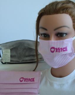 Textil Design-Maske waschbar aus Baumwolle mit Aufdruck - Oma - Rosa-Weiss + Zugabe