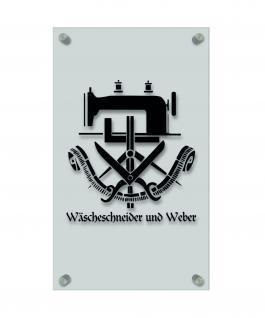 Zunftschild Handwerkerschild - Wäscheschneider und Weber - beschriftet auf edler Acryl-Kunststoff-Platte ? 309422 schwarz