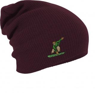 Longbeanie Slouch-Beanie Wintermütze Snowboarder grün 54878