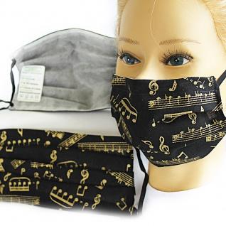 Textil Design-Maske waschbar aus Baumwolle mit Innenvlies - Musiknoten + Zugabe - 15481