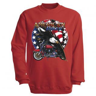 "Sweat- Shirt mit Motivdruck in 7 Farben "" Amercan Biker"" S12662 rot / S"