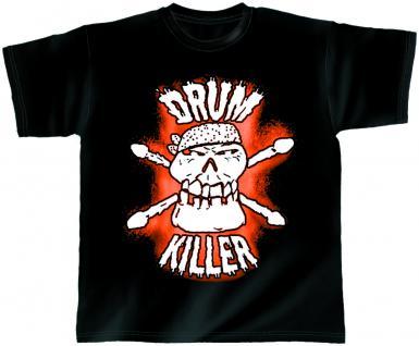 T-Shirt unisex mit Print - Drum Killer - von ROCK YOU MUSIC SHIRTS - 10411 schwarz - Gr. S - XXL