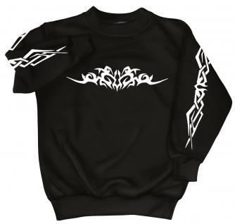 Sweatshirt mit Print - Tattoo - 09073 - versch. farben zur Wahl - schwarz / L