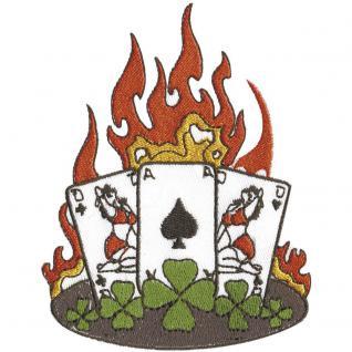 Aufnäher -Kartenspiel mit Flammen - 04997 - Gr. ca. 9cm x 11cm