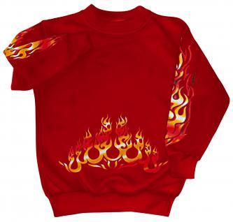 Sweatshirt mit Print - Feuer Flammen Fire- 10115 - versch. farben zur Wahl - rot / S