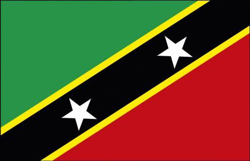 Stockländerfahne - St.Kitts und Nevis - Gr. ca. 40x30cm - 77156 - Länder-Flagge, Dekofahne