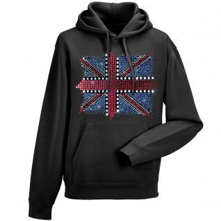 Kapuzen- Sweatshirt mit hochwertigem Strass- Motiv /Glitzer- Motiv Union Jack KS12895 3XL