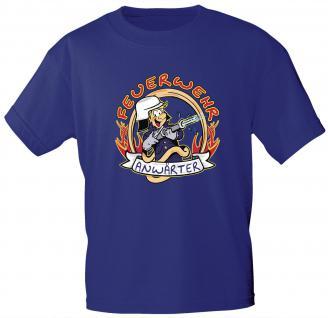 Kinder T-Shirt mit Print - Feuerwehr Anwärter - 06909 versch. Farben zur Wahl - Gr. 86 - 164 blau / 98/104