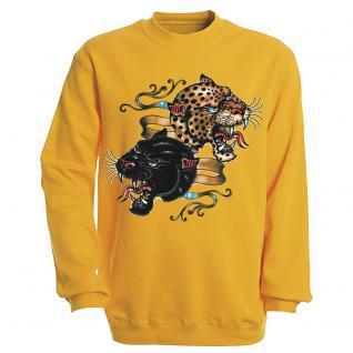 "Sweat- Shirt mit Motivdruck in 6 Farben "" Leopard"" S12679 gelb / L"