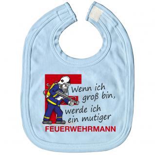 Babylätzchen mit Print - Wenn ich groß bin, wrede ich ein mutiger Feuerwehrmann - 07082 hellblau