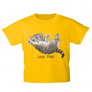 Kinder T-Shirt mit Print Cat Katze Lazy Days in Hängematte KA050/1 Gr. gelb / 122/128