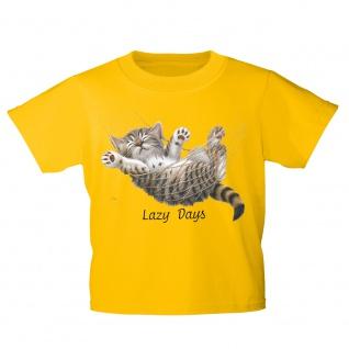 Kinder T-Shirt mit Print Cat Katze Lazy Days in Hängematte KA050/1 Gr. gelb / 152/164