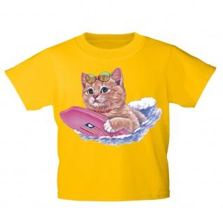 Kinder T-Shirt mit Print Cat Katze auf Surfbrett KA074/1 Gr. gelb / 122/128