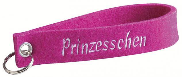 Filz-Schlüsselanhänger mit Stick Prinzesschen Gr. ca. 17x3cm 14067 rosa