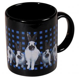 Tasse Kaffeebecher mit Print weiße Kaninchen Hasen 57498
