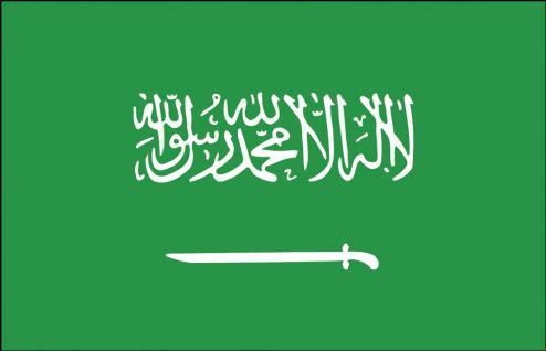 Länderfahne - Saudi-Arabien - Gr. ca. 40x30cm - 77142 - Flagge mit Holzstock, Stockländerfahne