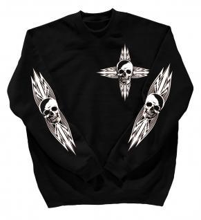 Sweatshirt mit Print - Totenkopf - 10119 - versch. farben zur Wahl - Gr. schwarz / M
