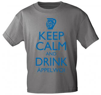 T-Shirt mit Print - Keep calm and drink Äppelwoi - 12912 - versch. Farben zur Wahl - Gr. S-2XL grau / L