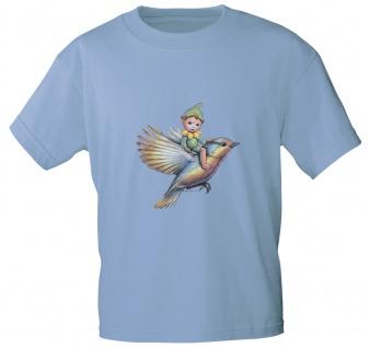Kinder T-Shirt mit Print Elfchen auf Vogel 12442 Gr. hellblau / 134/146