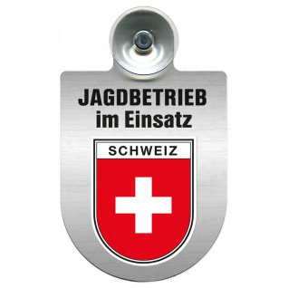 Einsatzschild Windschutzscheibe incl. Saugnapf - Jagdbetrieb im Einsatz - 309730 - Region Schweiz