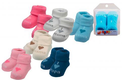 (56701) Baby- Erstlings Söckchen für Neugeborene in Geschenkbox- I ? Mama / Papa beige