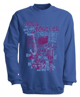 Sweatshirt mit Print - Rock forever - S10254 - versch. farben zur Wahl - Gr. Royal / XXL