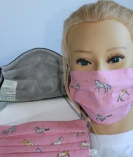 Textil Design Maske aus Baumwolle mit zertifiziertem Innenvlies - Pferde Rosa + Gratiszugabe