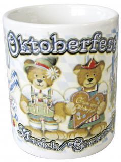 Tasse Kaffeebecher mit Print Oktoberfest Bärchen weiß 57343