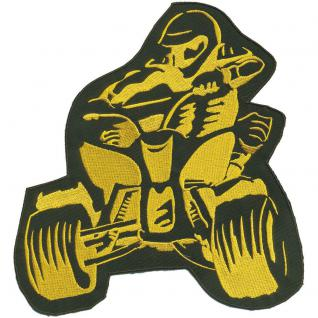 Rückenaufnäher - Quadfahrer- 88566 gelb - Gr. ca. 23 x 25 cm - Patches Stick Applikation