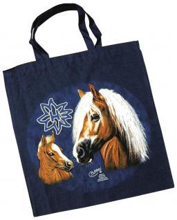 Baumwolltasche mit Druckmotiv - Pferd Haflinger - 08875 marineblau - Collection Christina Bötzel