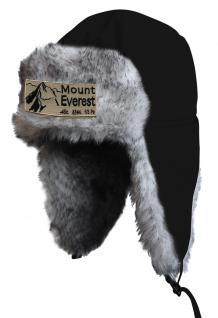Chapka Fliegermütze Pilotenmütze Fellmütze in schwarz mit 28 verschiedenen Emblemen 60015-schwarz Mount Everest