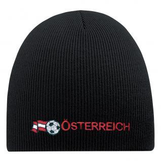 Beanie-Mütze mit Einstickung - ÖSTERREICH FUSSBALL - Wollmütze Wintermütze Strickmütze - 54595 schwarz