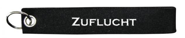 Filz-Schlüsselanhänger mit Stick ZUFLUCHT Gr. ca. 17x3cm 14141 schwarz