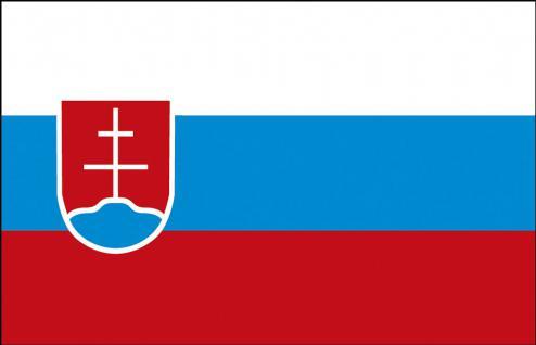 Stockländerfahne - Slowakei - Gr. ca. 40x30cm - 77151 - Schwenkfahne mit Holzstock, Länder-Flagge