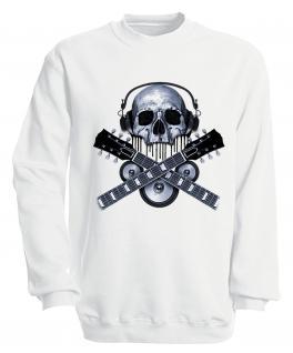 Sweatshirt mit Print - Skull Guitar - S10245 - versch. farben zur Wahl - Gr. weiß / S