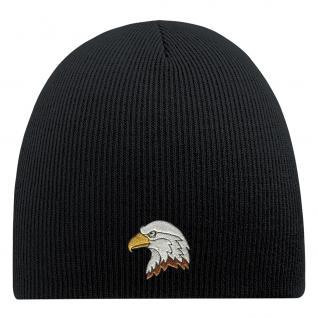 Beanie-Mütze mit Einstickung - ADLER - Wollmütze Wintermütze Strickmütze - 54802 schwarz