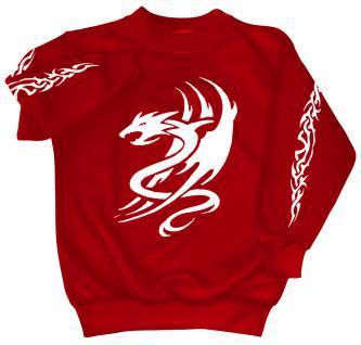 Sweatshirt mit Print - Tattoo Drache - 09036 - versch. farben zur Wahl - Gr. rot / S