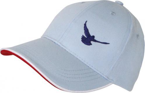 Cappy mit Tauben - Stick - fliegende Taube - TB677-5 hellblau - Baumwollcap Baseballcap Hut Cap Schirmmütze