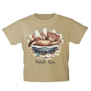 Kinder T-Shirt mit Print Cat Katze in Muschel liegend Beach Bum KA056/1 Gr. 122-164