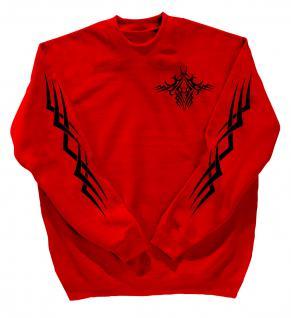 Sweatshirt mit Print - Tattoo - 10113 - versch. farben zur Wahl - rot / S