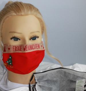 Textil Design Maske aus Baumwolle, mit zertifiziertem Innenvlies - Frohe Weihnachten - 15893
