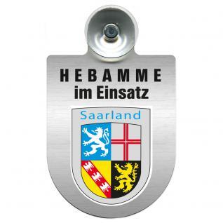 Einsatzschild Windschutzscheibe incl. Saugnapf -Hebamme im Einsatz - 309357-10 - Region Saarland