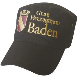 Military-Cap - Freizeit - Cappy mit Bestickung - Großherzogthum Baden - 60492 schwarz - Cap Kappe Baseballcap Baumwollcap