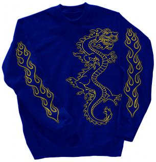 Sweatshirt mit Print - Drache Drake - 10114 - versch. farben zur Wahl - blau / M