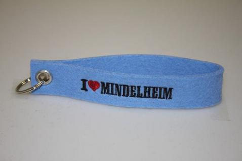 Filz-Schlüsselanhänger mit Stick I love Mindelheim Gr. ca. 17x3cm 14324 blau