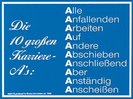 Spaß-Schild - Die 10 Großen Karriere-As ... - 309040 - 25cm x 15cm