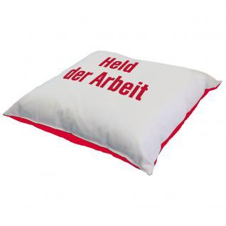 Kissen mit Print - HELD DER ARBEIT - Gr. ca. 40 x 40 cm - 09244 weiß-rot