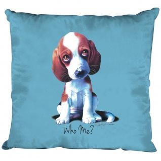 Kissen Dekokissen mit Print - Beagle Hundewelpen Who Me ? - 11685 hellblau
