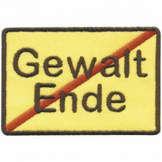 "Applikation Motivstick Aufbügler Emblem Abzeichen Patches Aufnäher "" Gewalt Ende"" NEU Gr. ca. 8cm x 5cm (06147) Peace Frieden"